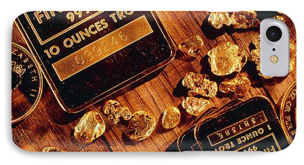 Nuggets, Bars And Coins Made Of Gold Phone Case by David Nunuk