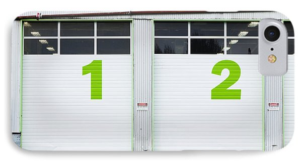 Numbers On Repair Shop Bay Doors Phone Case by Don Mason