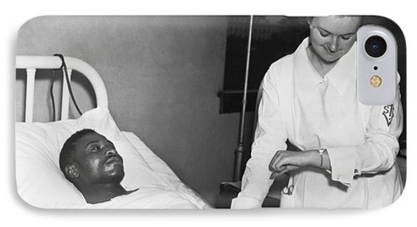 Nurse Taking Man's Pulse IPhone Case by Underwood Archives
