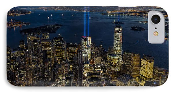 Nyc 911 Tribute In Lights IPhone Case by Susan Candelario