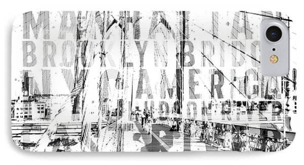 Nyc Brooklyn Bridge Typography No2 IPhone Case by Melanie Viola