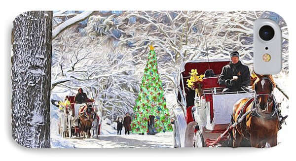 Festive Winter Carriage Rides IPhone Case by Sandi OReilly