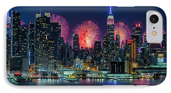 IPhone Case featuring the photograph Nyc Fireworks Celebration by Susan Candelario
