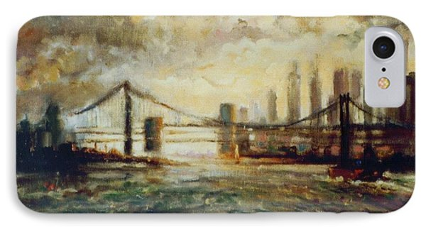 IPhone Case featuring the painting Nyc Harbor by Walter Casaravilla