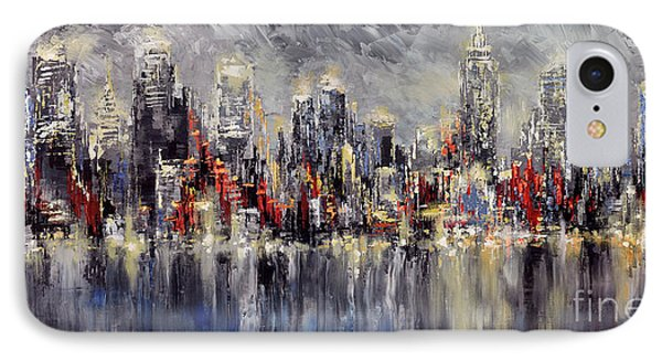 IPhone Case featuring the painting Nyc Lights by Tatiana Iliina