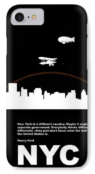 Nyc Night Poster IPhone Case by Naxart Studio