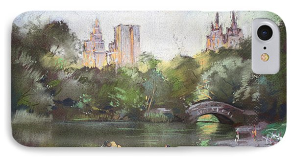 Nyc Resting In Central Park Phone Case by Ylli Haruni