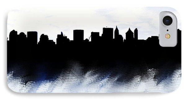 Nyc Skyline Blue And Red  IPhone Case by Enki Art