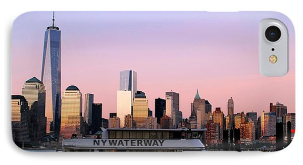 Nyc Skyline With Boat At Pier IPhone Case by Matt Harang