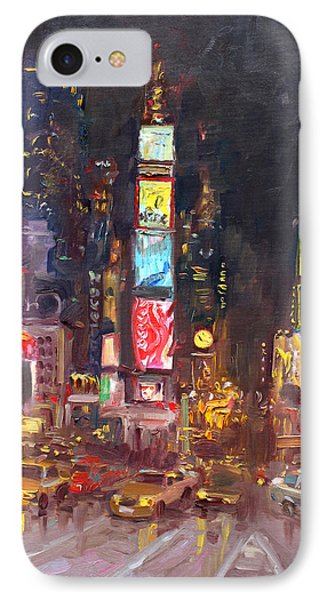 Nyc Times Square IPhone Case by Ylli Haruni