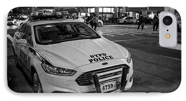 nypd ford fusion police cruiser parked on the street at night New York City USA IPhone Case