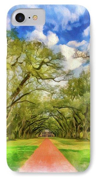 Oak Alley 7 - Paint Vignette IPhone Case by Steve Harrington