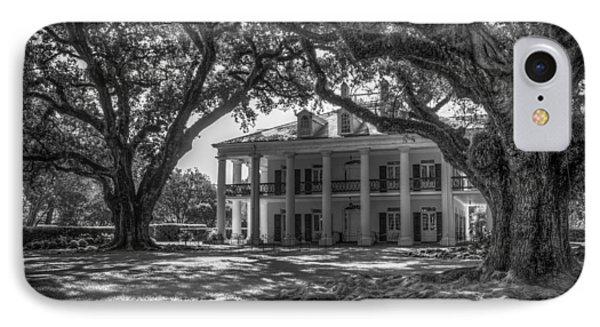 Oak Alley Plantation-bw IPhone Case by Tom Weisbrook