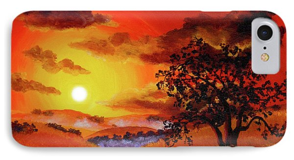 Oak Tree In Red Sunset IPhone Case by Laura Iverson