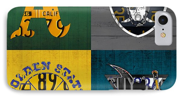 Oakland Sports Fan Recycled Vintage California License Plate Art Athletics Raiders Warriors Sharks IPhone Case by Design Turnpike