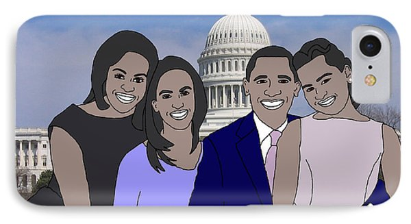 Obama Family In Washington Dc IPhone Case by Priscilla Wolfe