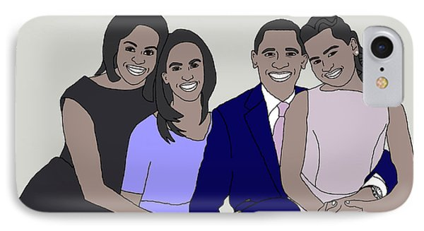 Obama Family Neutral Background IPhone Case by Priscilla Wolfe