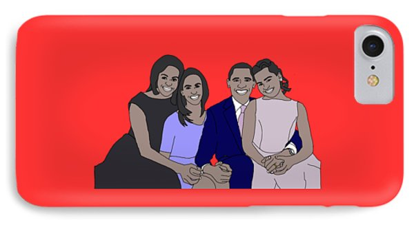 Obama Family IPhone Case by Priscilla Wolfe