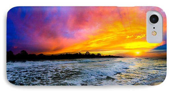 IPhone Case featuring the photograph Ocean Sunset Landscape Photography Red Blue Sunset by Eszra Tanner