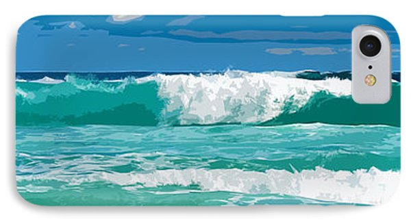 Ocean Surf Illustration Phone Case by Phill Petrovic