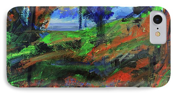 IPhone Case featuring the painting Ocean View Through The Forest by Walter Fahmy