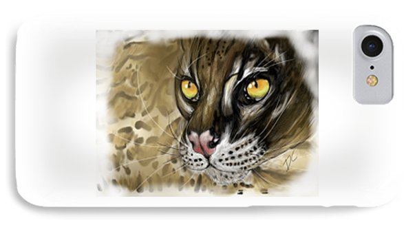 IPhone Case featuring the digital art Ocelot by Darren Cannell