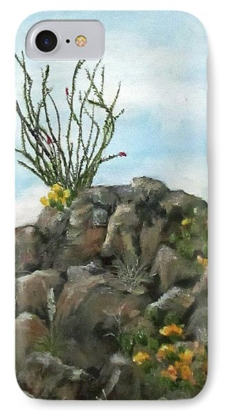 IPhone Case featuring the painting Ocotillo In Bloom by Roseann Gilmore