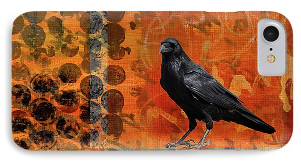 IPhone Case featuring the painting October Raven by Nancy Merkle