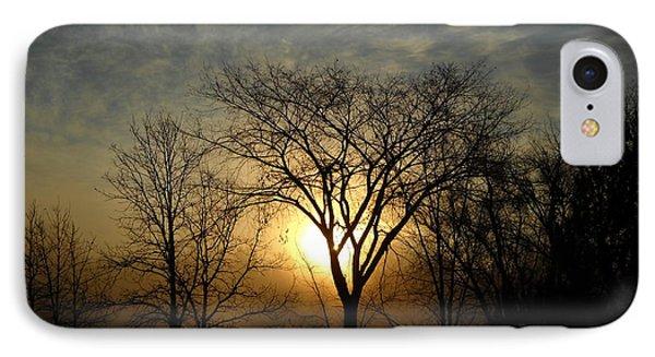 October Sunrise Behind Elm Tree IPhone Case