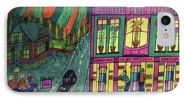IPhone Case featuring the drawing Oddfellows Building. Historical Menominee Art. by Jonathon Hansen