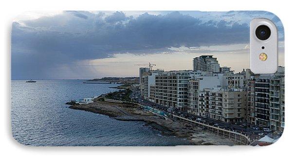 Offshore Rainstorm - Sliema's Famous Promenade Waking Up IPhone Case
