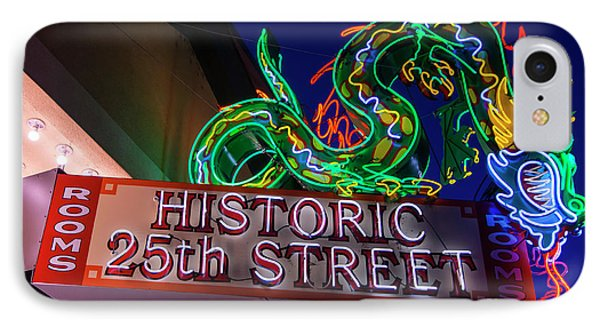 IPhone Case featuring the photograph Ogden's Historic 25th Street Neon Dragon Sign by Gary Whitton