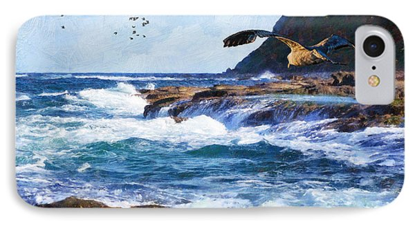 IPhone Case featuring the painting Oh The Wind And The Waves by Lianne Schneider