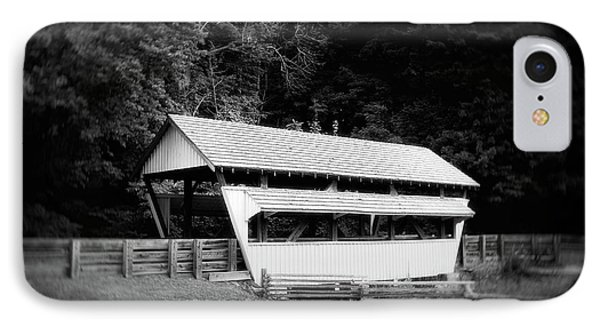 Ohio Covered Bridge In Black And White IPhone Case by Tom Mc Nemar