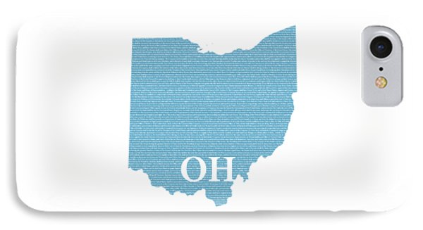 Ohio State Map With Text Of Constitution IPhone Case