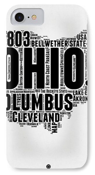 Ohio Word Cloud Map 2 IPhone Case by Naxart Studio