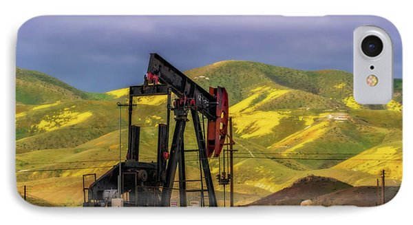 IPhone Case featuring the photograph Oil Field And Temblor Hills by Marc Crumpler