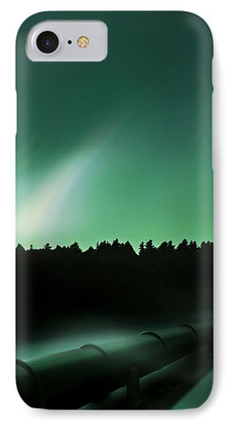 Oil Pipeline And Aurora IPhone Case by Richard Kail