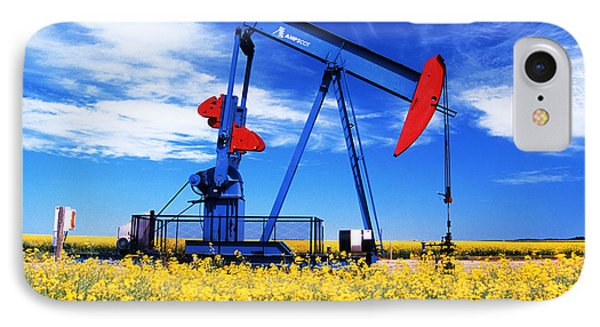 Oil Pumpjack And Canola Field, Arcola IPhone Case
