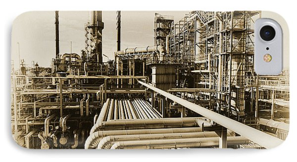 Oil Refinery In Old Vintage Processing Concept IPhone Case by Christian Lagereek