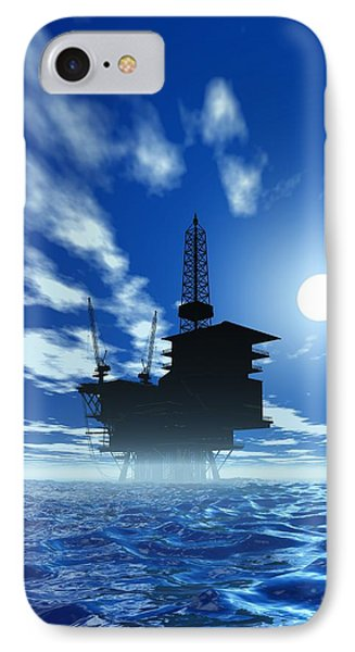 Oil Rig, Artwork Phone Case by Victor Habbick Visions