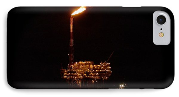 IPhone Case featuring the photograph Oil Rig At Night by Bradford Martin