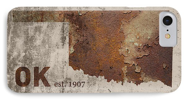 Oklahoma State Map Industrial Rusted Metal On Cement Wall With Founding Date Series 003 IPhone Case