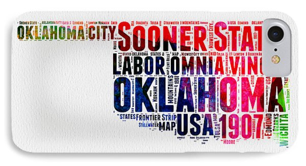 Oklahoma Watercolor Word Cloud  IPhone Case by Naxart Studio