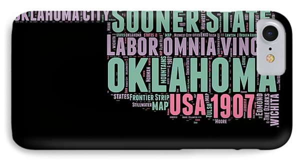 Oklahoma Word Cloud 1 IPhone Case by Naxart Studio