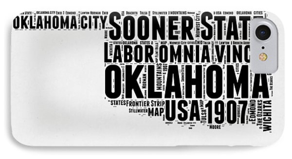 Oklahoma Word Cloud 2 IPhone Case by Naxart Studio