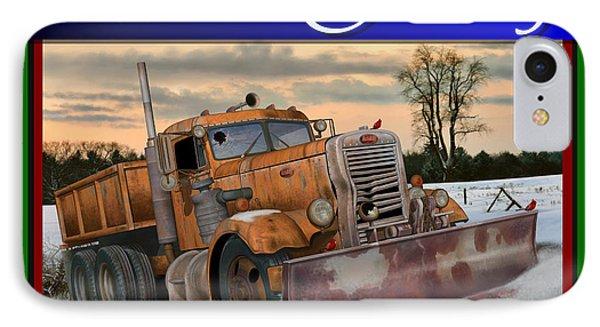 IPhone Case featuring the digital art Ol' Pete Snowplow Christmas Card by Stuart Swartz