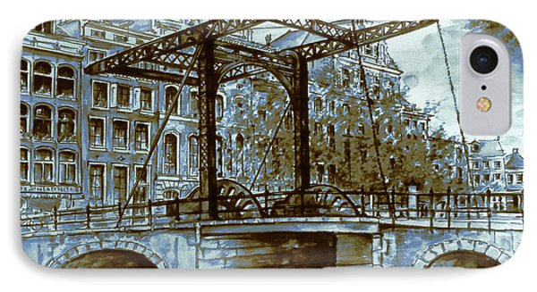 Old Amsterdam Bridge - Dutch Blue Water Color IPhone Case