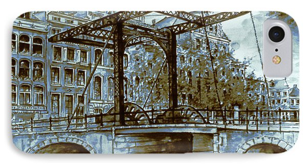 Old Amsterdam Bridge - Blue Water Color IPhone Case by Art America Gallery Peter Potter