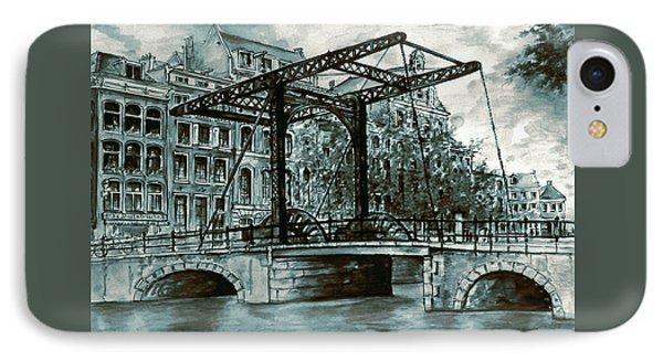 Old Amsterdam Bridge In Dutch Blue Water Colors IPhone Case